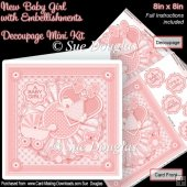 New Baby Girl with Embellishments 8in x 8in Decoupage Mini Kit