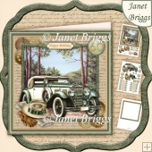 Vintage Green Car 7.5 Decoupage Insert & Ages Mini Kit
