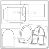 Commercial Use Arched Window Pillow Card Template Set