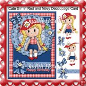 Cute Girl in Red and Navy Decoupage Card Front