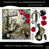 Biker & No Vacancy Topper with Decoupage