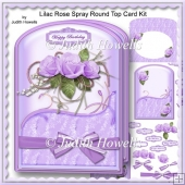 Lilac Rose Spray Round Top Card Kit