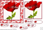 Red Poppy with poppy frame 6 inch topper 106