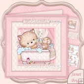 Bathtime Kitty 8x8 Decoupage Kit