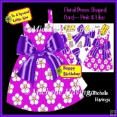 Floral Dress Shaped Card~ Pink & Lilac