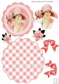 vintage girl in pink hat & pink roses rocker card