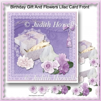 Birthday Gift And Flowers Lilac Card Front