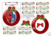 Christmas Bauble Red Cardinal - To Fit A 4.25 x 5.5 Card