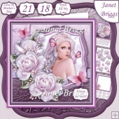 AMETHYST LADY & ROSES 8x8 Decoupage & Insert Mini Kit