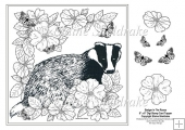 "Badger In The Roses - 8"" x 8"" Digi Stamp With Decoupage"