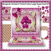 Burgandy Orchids In Floral Frame Large Easel Card Kit
