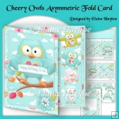 Cheery Owls Asymmetric Fold Birthday Card