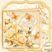Square Scallop Pocket Golden Roses 7.5 Decoupage Kit