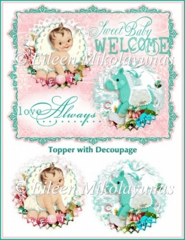 Lullaby Welcome Baby Topper with Decoupage
