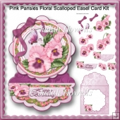 Pink Pansies Floral Scalloped Easel Card Kit
