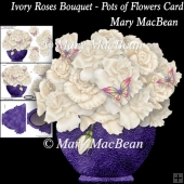 Ivory Roses Bouquet - Pots of Flowers Card