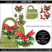 Xmas Fashion: Bag Gift Packet with Layered Holly Deco