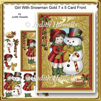 Girl With Snowman Gold 7 x 5 Card Front