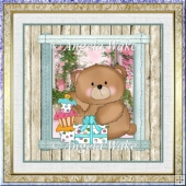 baby boy bear 1st birthday 7x7 card with decoupage