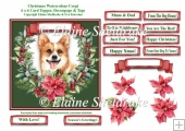 Christmas Poinsettias Watercolour Corgi Puppy Dog - 6 x 6 Card