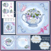 Floral Teapot Card Front, Inserts and Decoupage