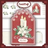 Two candles and poinsettia card set