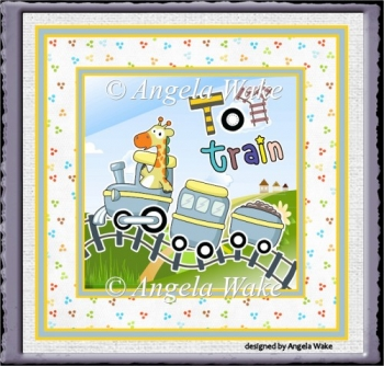 Giraffe and toy train 7x7 card