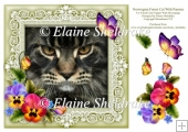 Norwegian Forest Cat 8 x 8 Card Topper With Pansy Decoupage