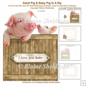Adult Pig & Baby Pig In The Sty - 7 x 5 Cut & Fold Card Kit