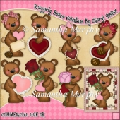 Raggedy Bears Valentines ClipArt Graphic Collection
