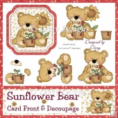 Sunflower Bear Card Front and Decoupage