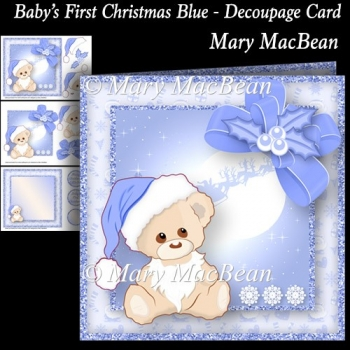 Baby's First Christmas Blue - Decoupage Card