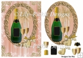 Champagne and Celebration Card Front, Topper & Decoupage