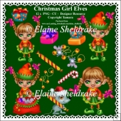 Christmas Girl Elves Clipart - Set One - CU - PNG Clipart