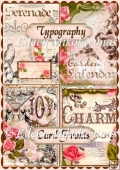 Set of 4 Vintage Typography and Roses Card Fronts