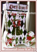 Jolly Santa Christmas Stocking Dimensional Gift Bag and Tag Set