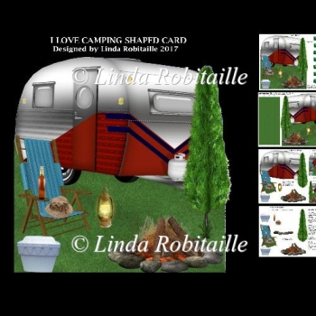I Love Camping Shaped Card