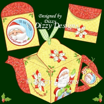 Santa Teapot Box and Tea Bag Wrappers