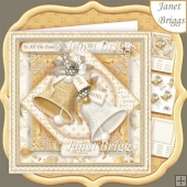 GOLD & WHITE CHRISTMAS BELLS 7.5 Decoupage & Insert Kit