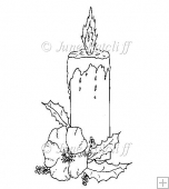 Candle with Flowers Digital Stamp