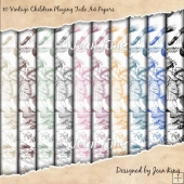 10 Vintage Children Playing Toile A4 Papers