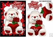 lovely white bear with red heart and rose in heart frame A5