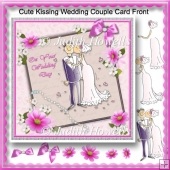 Cute Kissing Wedding Couple Card Front