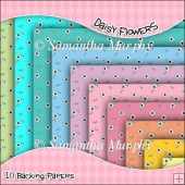 10 Daisy Flower Backing Papers Download (C42)