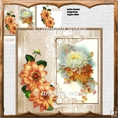 Dahlia flowers card 7x7 with decoupage and sentiment tags