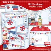 2012 Boy & Girl Scalloped Pocket Card & Envelope Set