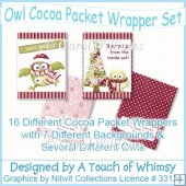 Owl Cocoa Packet Wrapper Set