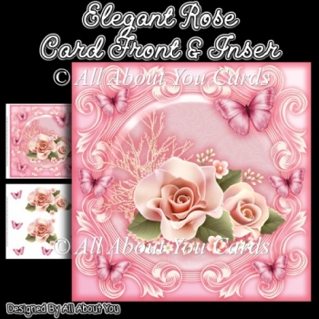 Elegant Rose 8x8 Fancy Card Front
