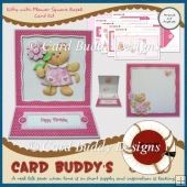 Kitty with Flower Square Easel Card Kit