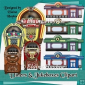 Diners and Jukeboxes Clipart